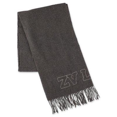 Zadig & Voltaire dark grey logo detail scarf