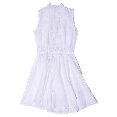 White cotton crepe dress