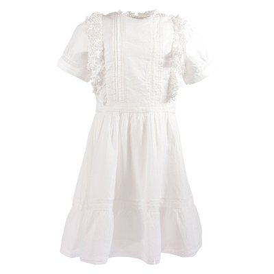 White crochet details cotton muslin dress