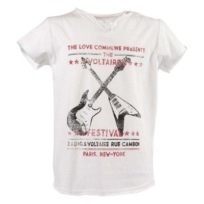 T-shirt bianca in jersey di cotone con stampa vintage e logo