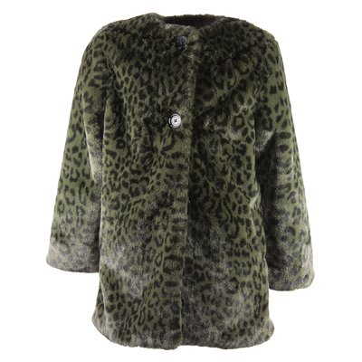 Green spotted faux fur coat