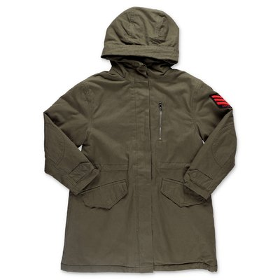 Zadig & Voltaire military green cotton parka jacket with hood