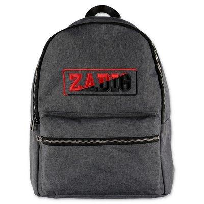 Zadig & Voltaire zaino grigio scuro in techno tessuto con logo