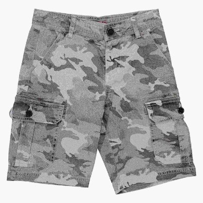 Camouflage cotton gabardine shorts