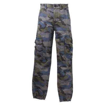 Pantaloni camouflage in gabardina di cotone