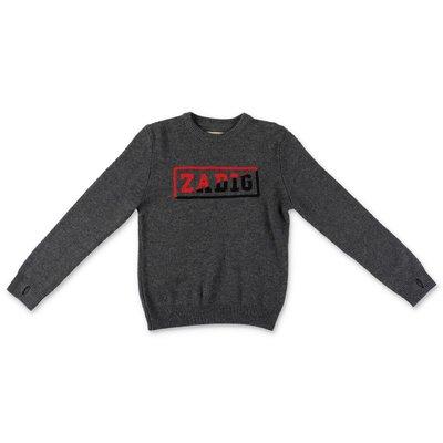 Zadig&Voltaire pullover grigio scuro in maglia di lana e cashmere con logo