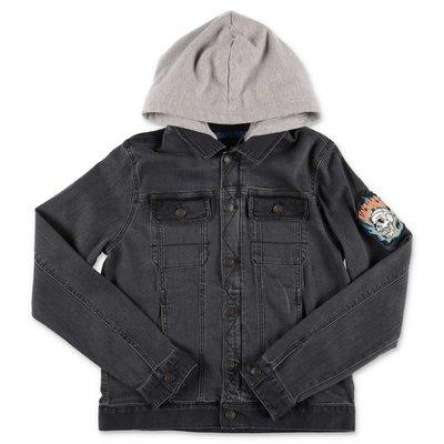 Zadig & Voltaire giacca grigia in denim di cotone stretch con cappuccio