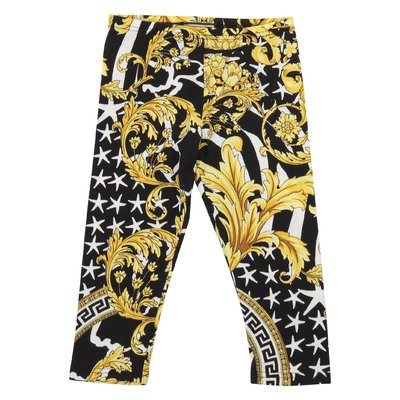 Savage Barocco print elastic cotton leggings