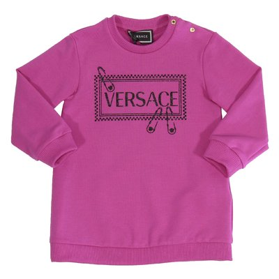 Fuchsia 90s vintage logo cotton sweatshirt dress