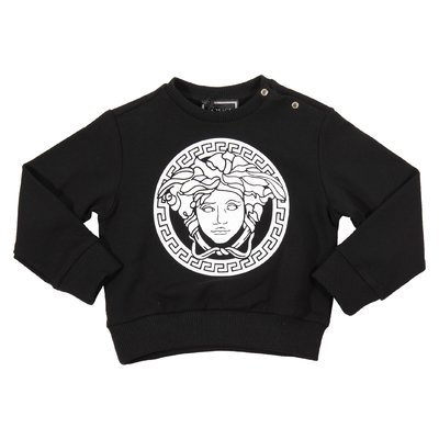 Black Medusa print cotton sweatshirt