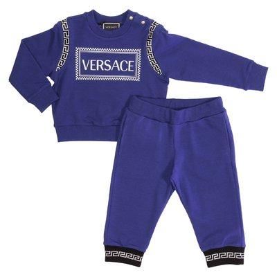 Tuta blu in cotone con logo 90s vintage in cotone