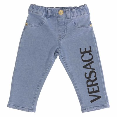 Logo detail stretch cotton denim jeans