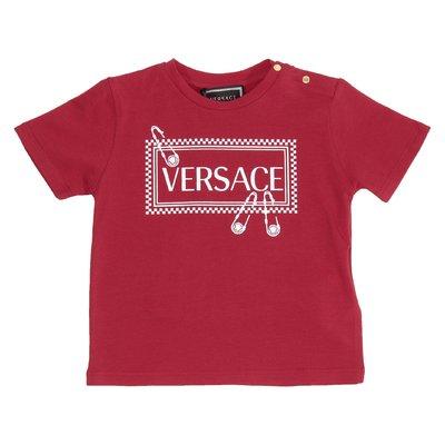 T-shirt rossa in jersey di cotone con logo 90s vintage