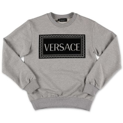 Young Versace melange grey 90s logo cotton sweatshirt