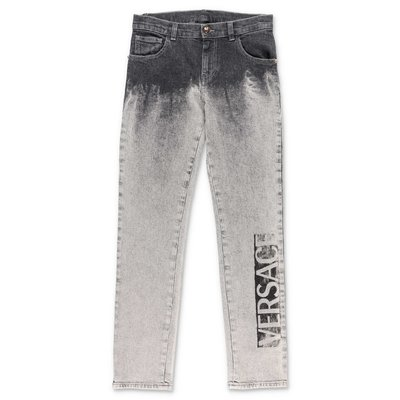 Young Versace grey stretch cotton denim rinse wash jeans