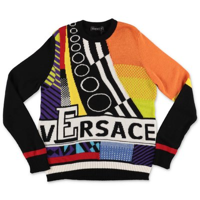 Young Versace pullover multicolor in pura lana