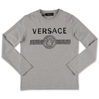 Young Versace melange grey logo detail cotton jersey t-shirt