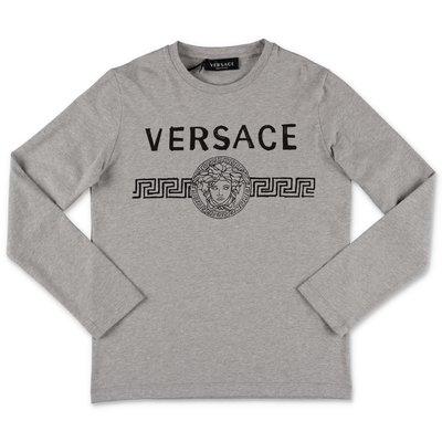 Young Versace t-shirt grigio melange in jersey di cotone con logo