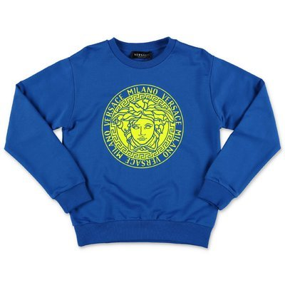 Young Versace felpa blu royal Medusa in cotone