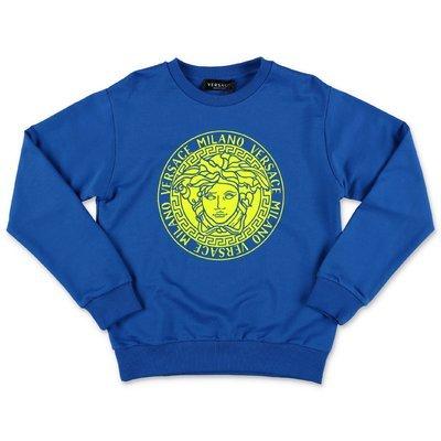 Young Versace Medusa royal blue cotton sweatshirt
