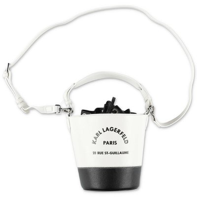 Karl Lagerfeld black and white faux leather bucket bag