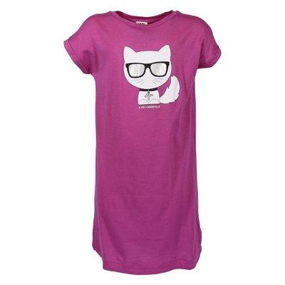 T-shirt fucsia Choupette in jersey di cotone