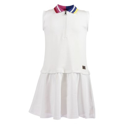 White cotton piquet two-pieces effect dress
