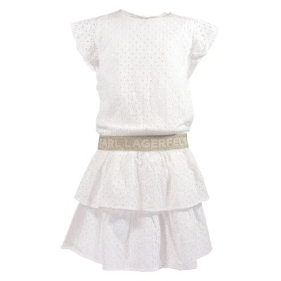 White logo detail eyelet lace dress