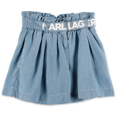 Karl Lagerfeld blue denim wide shorts