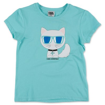 Karl Lagerfeld light blue cotton jersey Choupette t-shirt