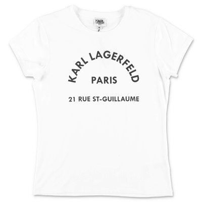 Karl Lagerfeld white cotton jersey & modal t-shirt