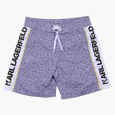 Marled grey nylon swimwear shorts