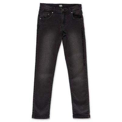 Karl Lagerfeld jeans neri in denim di cotone stretch effetto vissuto