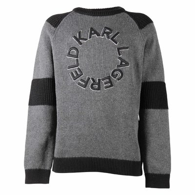Grey logo cotton knit jumper