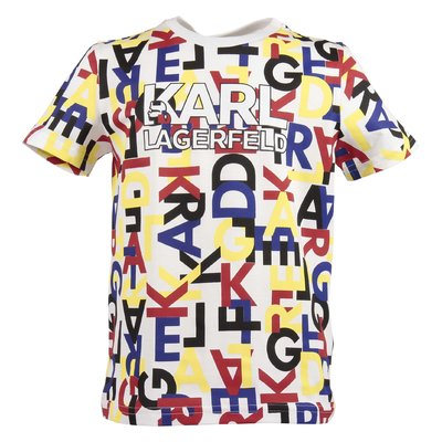 T-shirt multicolor in jersey di cotone con logo