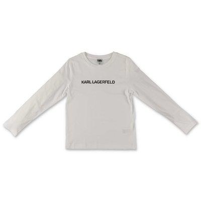 Karl Lagerfeld t-shirt bianca in jersey di cotone con logo