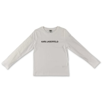 Karl Lagerfeld t-shirt bianca in jersey di cotone con logo