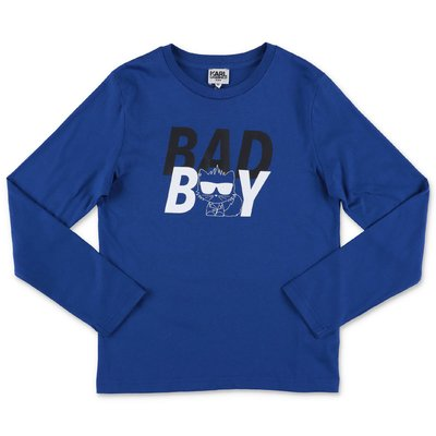 Karl Lagerfeld t-shirt blu in jersey di cotone