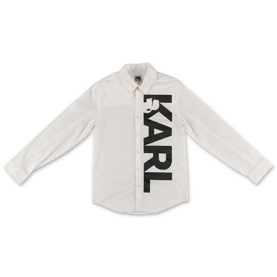 Karl Lagerfeld logo white cotton poplin shirt