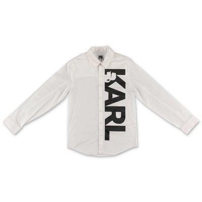 Karl Lagerfeld camicia bianca in popeline di cotone con logo