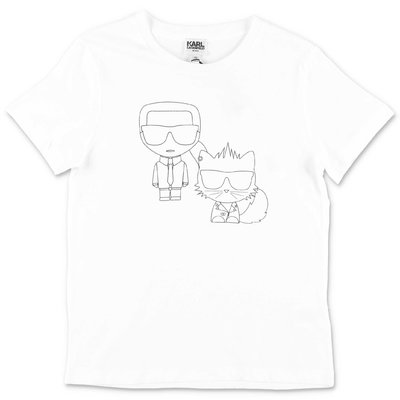 Karl Lagerfeld t-shirt bianca in jersey di cotone con Karl & Choupette