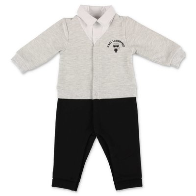 Karl Lagerfeld black & grey cotton jersey three piece effect romper