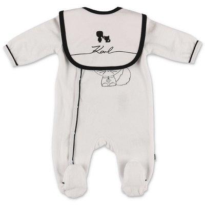 Karl Lagerfeld white cotton chenille romper & jersey bib set