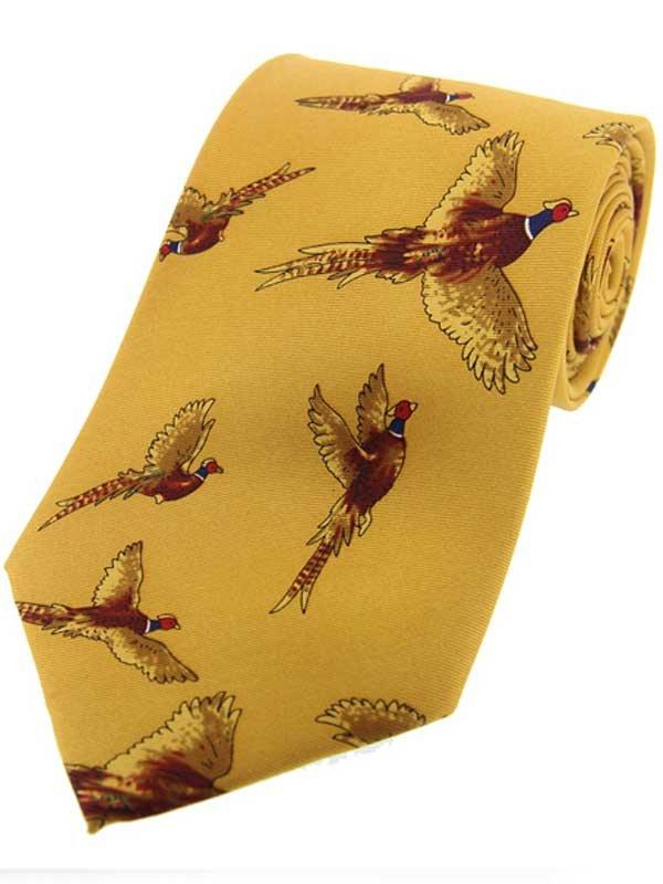 Flying Pheasants On Mustard Ground Country Silk Tie