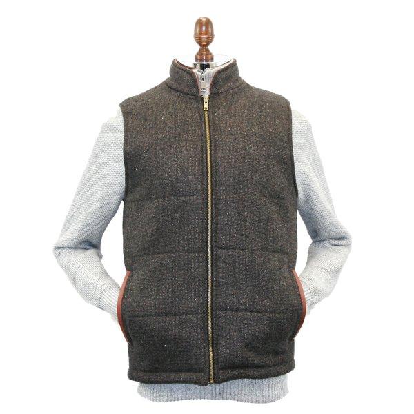 Gilet matelassé en tweed marron pour homme avec bordure en cuir
