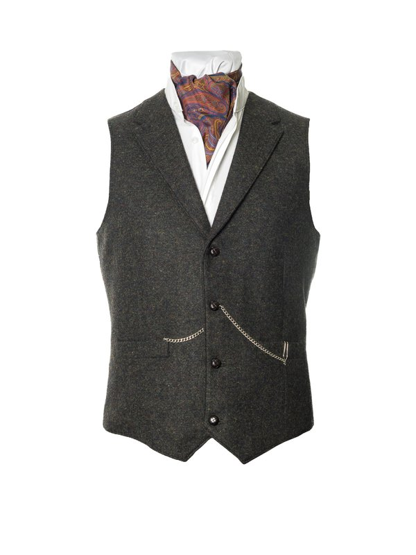 O Ceallaigh Peat Colour Irish Tweed Waistcoat With Revere