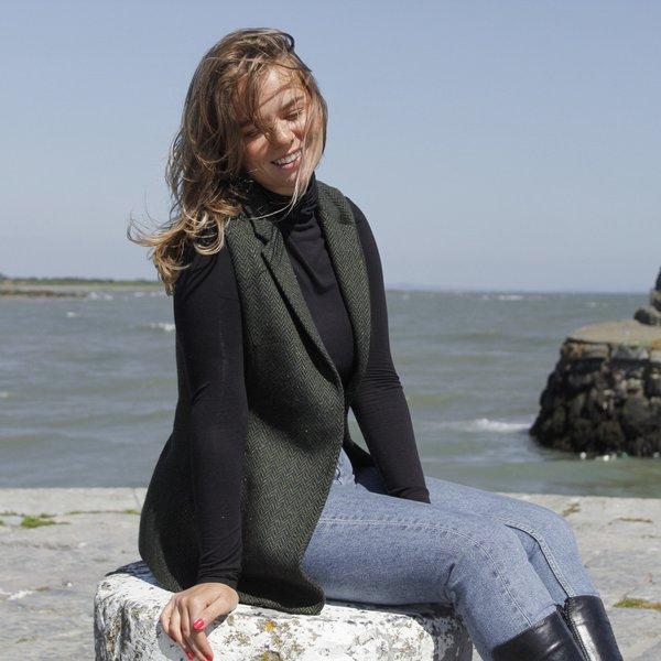Gilet en tweed vert pour femmes - Green