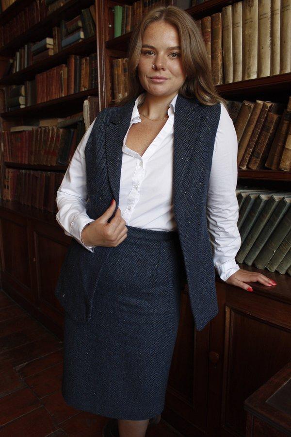 Ladies Blue Tweed  Gilet