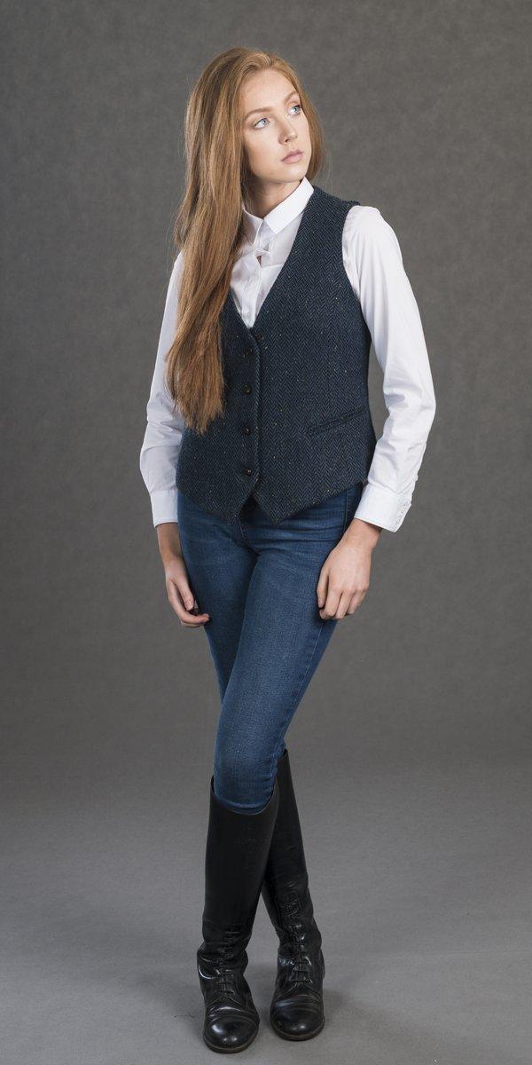 Gilet en tweed bleu pour femme