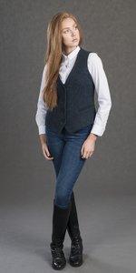 Blaue Tweed Weste für Damen